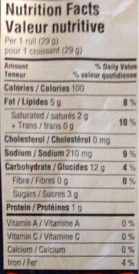 croissants originaux pillsbury - Nutrition facts - en