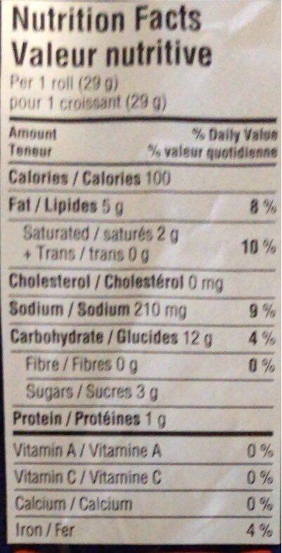 croissants originaux pillsbury - Informations nutritionnelles - en