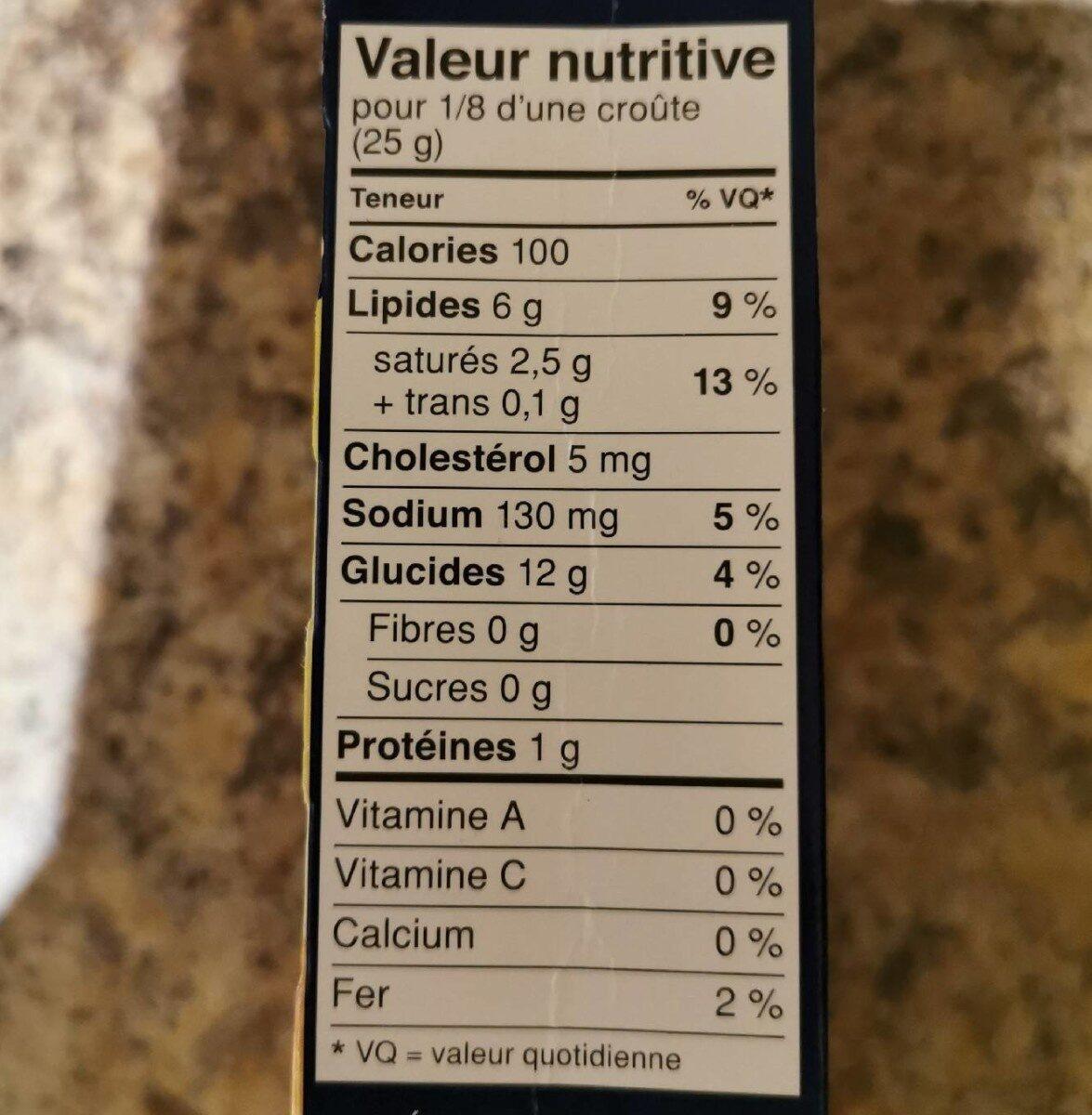 Croûte à tarte - Nutrition facts - fr