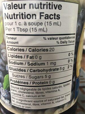 Tartinade de fruits légère aux bleuets - Informations nutritionnelles - fr