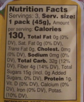 Sun dried apricots - Nutrition facts