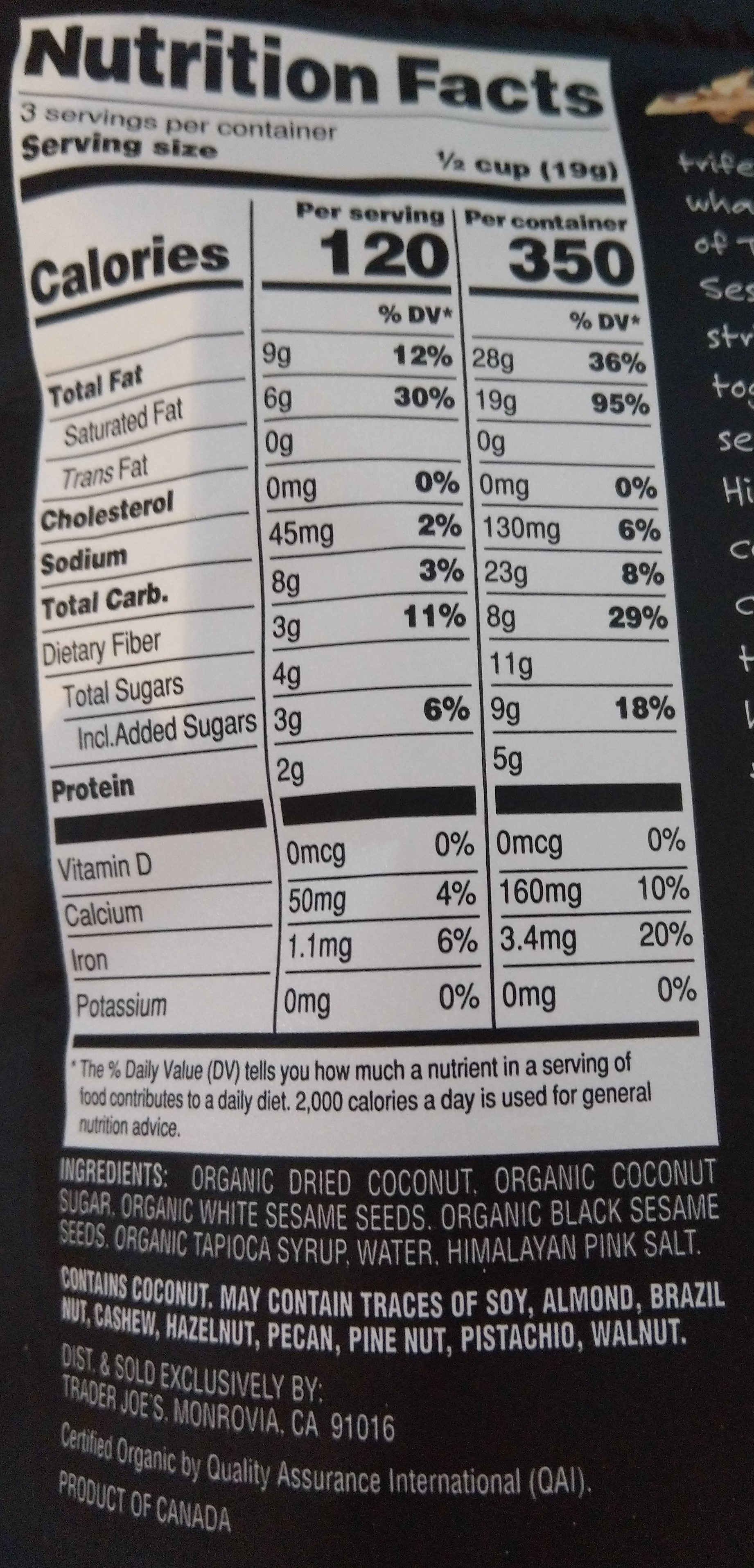 Organic coconut sesame seed cluster snack - Ingredients