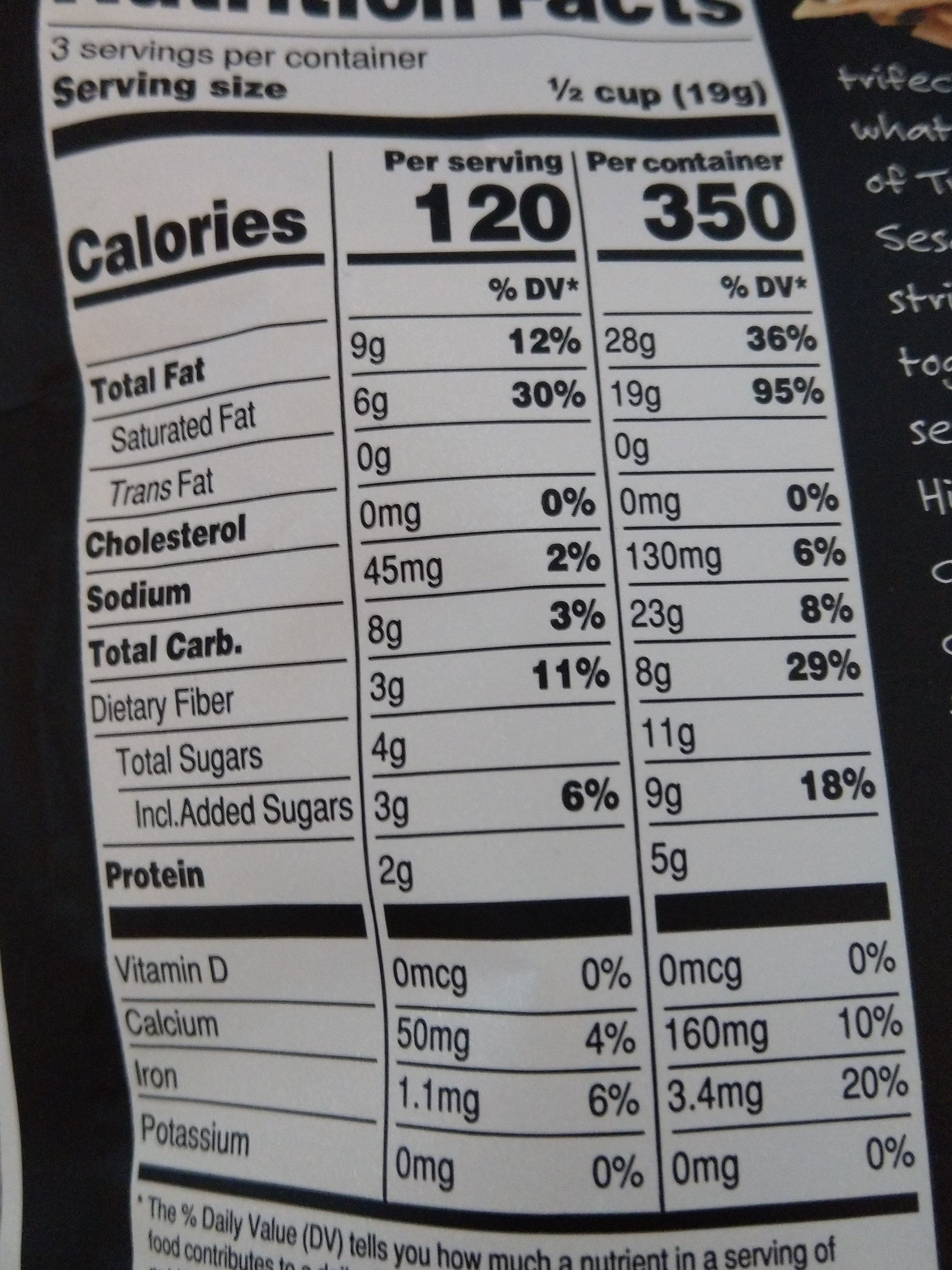 Organic coconut sesame seed cluster snack - Nutrition facts