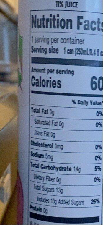Rhubarb & Strawberry Soda - Nutrition facts - en