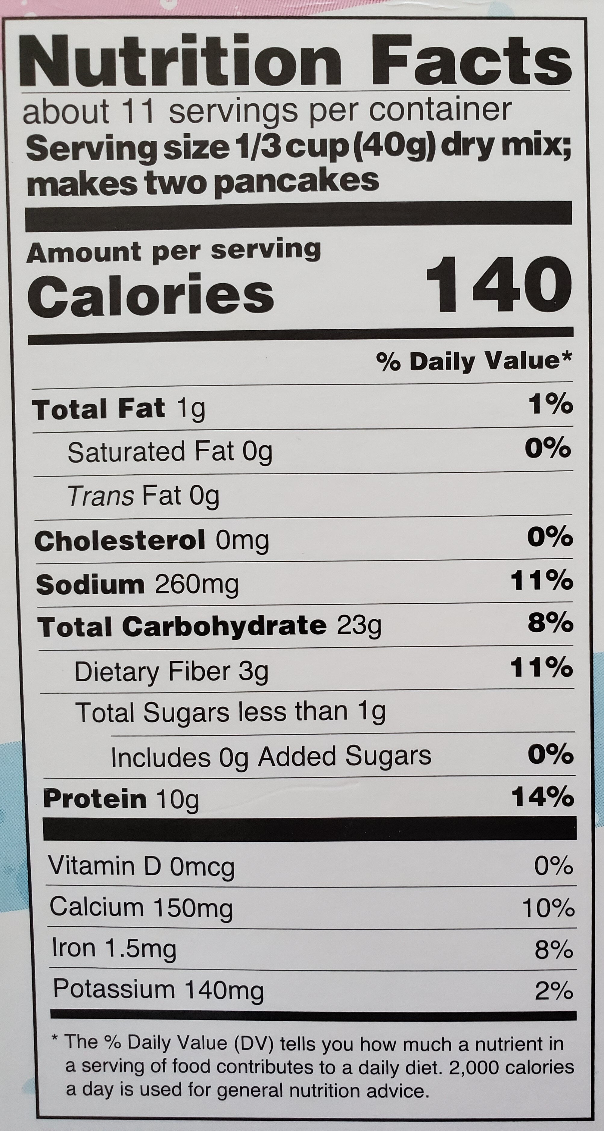 Buttermilk Protein Pancake Mix - Nutrition facts