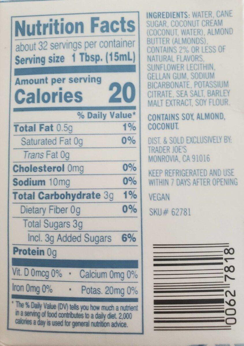 Coconut & Almond Creamer - Nutrition facts - en