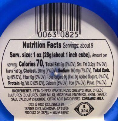 Israeli Feta - Nutrition facts