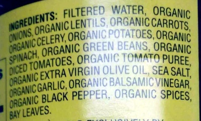 Organic lentil vegetable soup - Ingredients - en