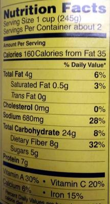Organic lentil vegetable soup - Nutrition facts - en