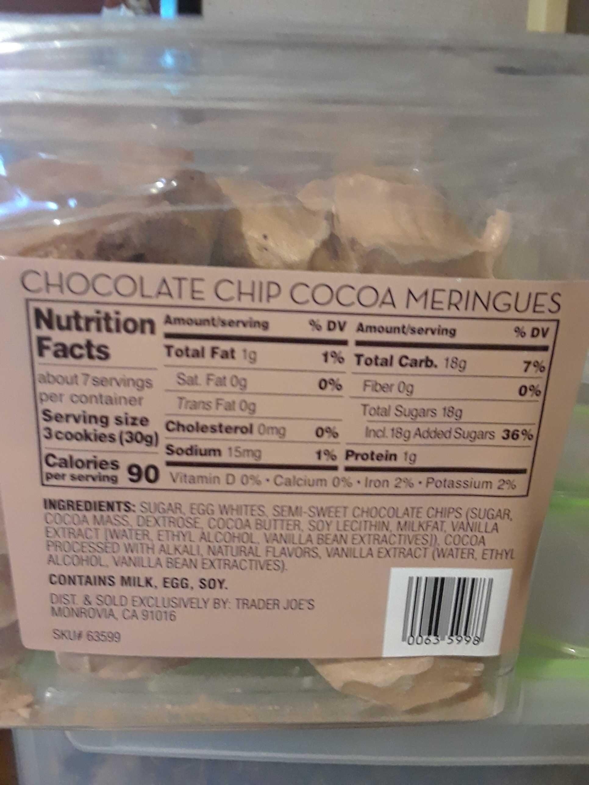 Chocolate Chip Cocoa Meringues - Nutrition facts - en