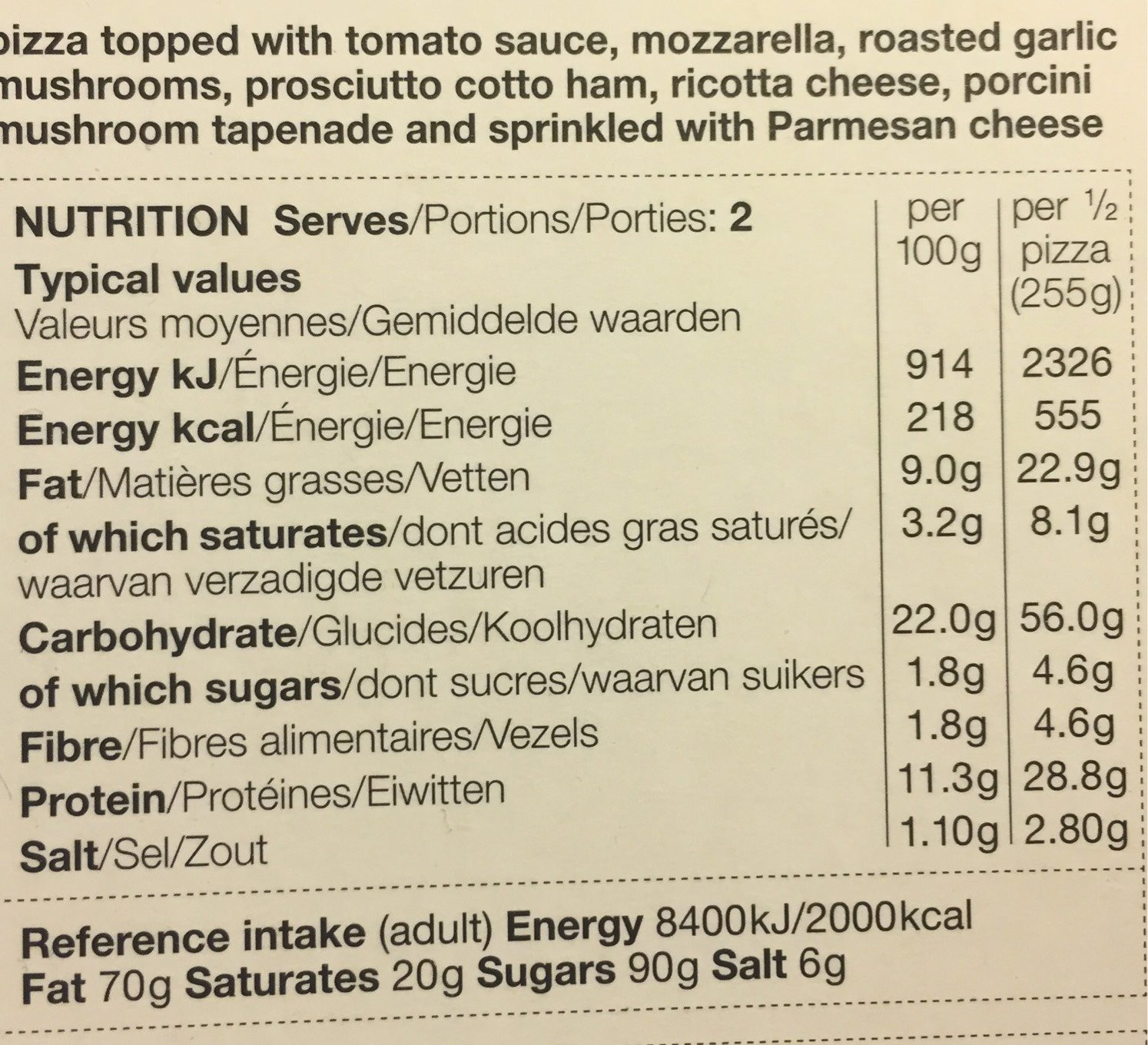 Wood fired pizza - Nutrition facts