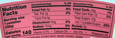 Organic Creamy Cashew Strawberry - Nutrition facts - en
