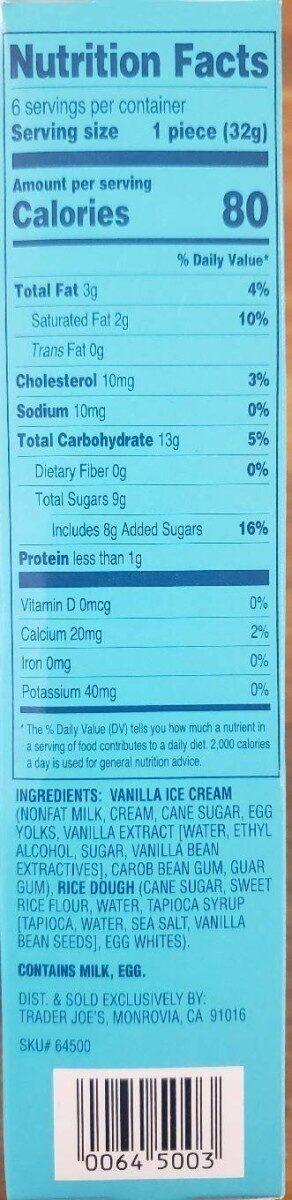 Vanilla mochi - Nutrition facts