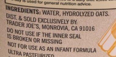 Non-dairy oat beverage - Ingredients
