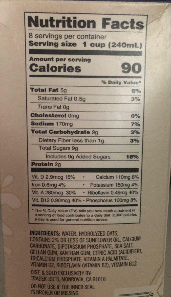 Oat milk - Informations nutritionnelles