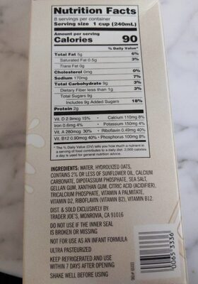 Non Dairy Oat Beverage - Nutrition facts - en