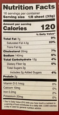 Puff pastry - Nutrition facts