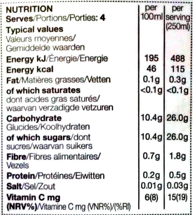 Pressed British Apple & Pear Juice - Nutrition facts - en