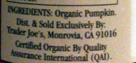 Organic Pumpkin - Ingredients