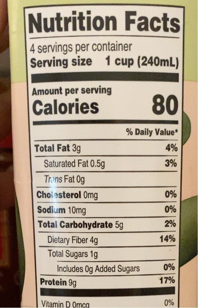 Organic soy beverage unsweetened - Nutrition facts - en