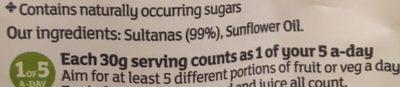 Sultanas - Ingredients