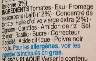 Tomato & Mascarpone Pasta Sauce - Ingredients