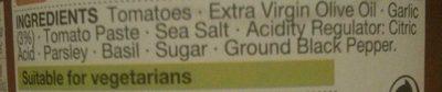 Sauce Tomate - Ingredients