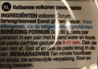 Wholewheat penne - Ingredients - fr