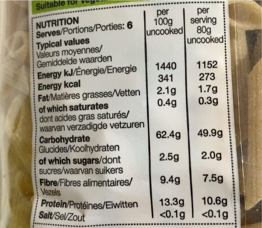 Wholewheat penne - Nutrition facts - fr