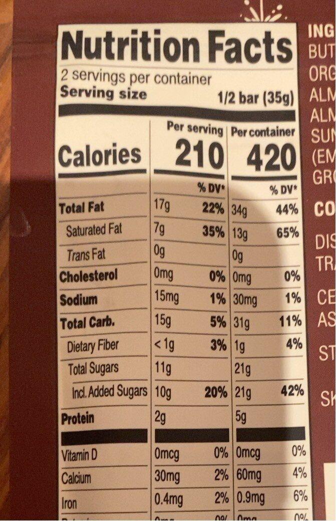 Chocolate bar - Nutrition facts - en