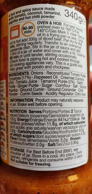 Sauce Madras - Informations nutritionnelles - fr