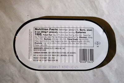 Kipper Fillets Wild Caught Smoked Herring in Canola Oil & Juices - Ingredients - en