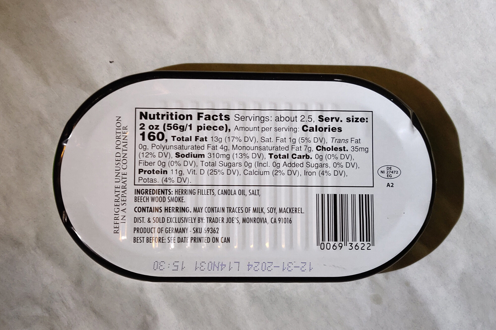 Kipper Fillets Wild Caught Smoked Herring in Canola Oil & Juices - Nutrition facts - en