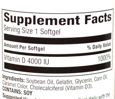 up&up Vitamin D3 4,000 IU - Voedingswaarden