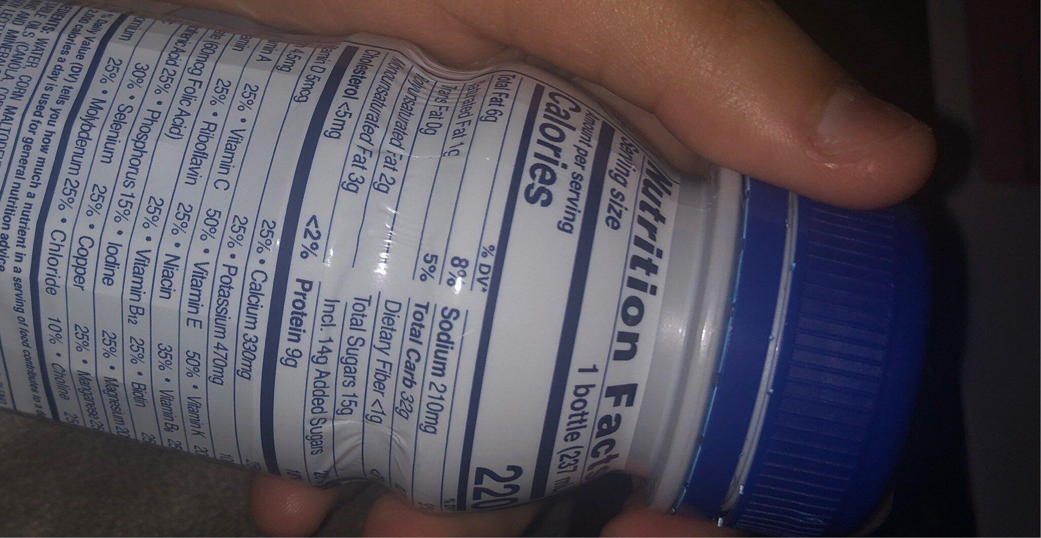 Original nutrition shake - Nutrition facts - en