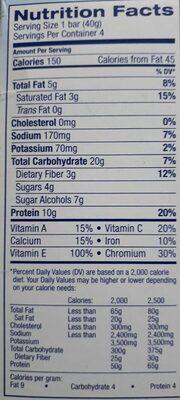 Glucerna Nutrition Bars Crispy Delights Chocolate Chip - 4 CT - Informations nutritionnelles - en