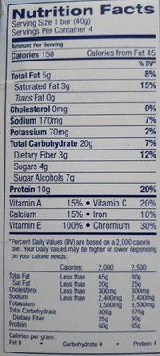 Glucerna Nutrition Bars Crispy Delights Chocolate Chip - 4 CT - Voedingswaarden