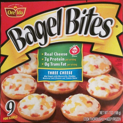 Ore ida, bagel bites, mini bagels, three cheese, three cheese - Product - en