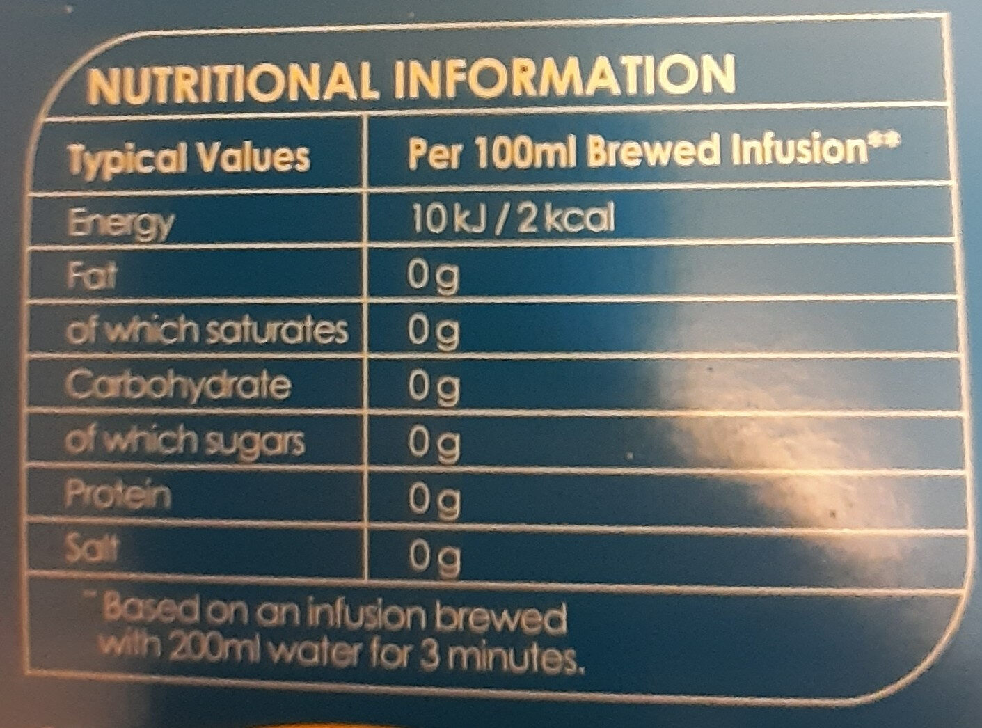 Orange Crush Tea - Nutrition facts - en