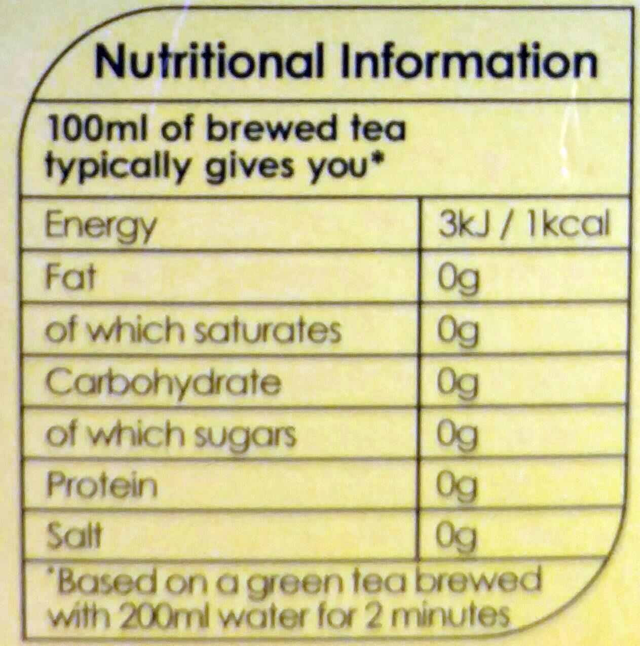 Twinings apple & pear green tea - Nutrition facts