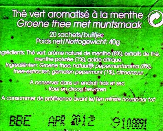Twinings fresh thé vert menthe - Ingrediënten