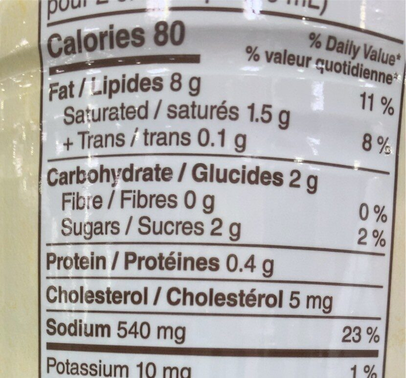 Olive garden - Nutrition facts - fr