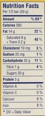 Swiss milk chocolate bar - Informations nutritionnelles - en