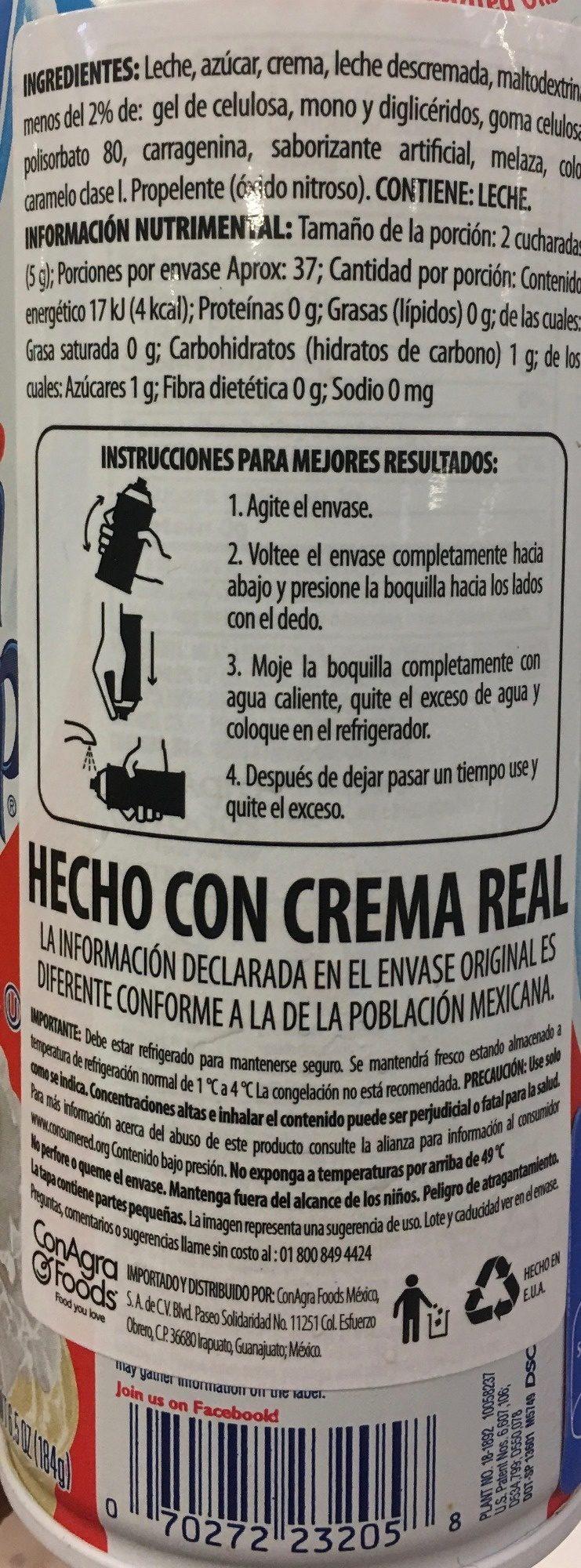 Reddi-wip Fat Free Whipped Dairy Cream Topping, 6.5 oz., 6.5 OZ - Información nutricional - es