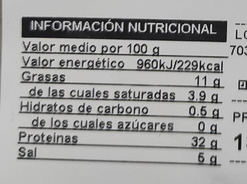 JAMÓN SERRANO MEDIAS LONCHAS - Valori nutrizionali - fr