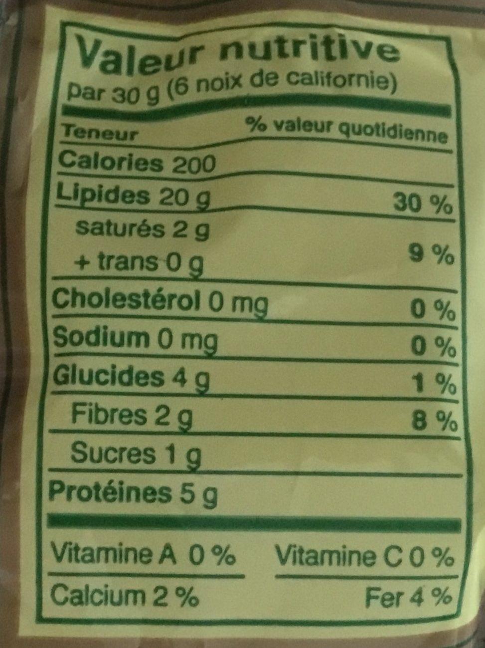 Noix de Californie - Informations nutritionnelles