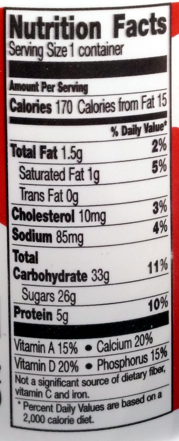 Yoplait Original Strawberry Low Fat Yogurt - Nutrition facts - en