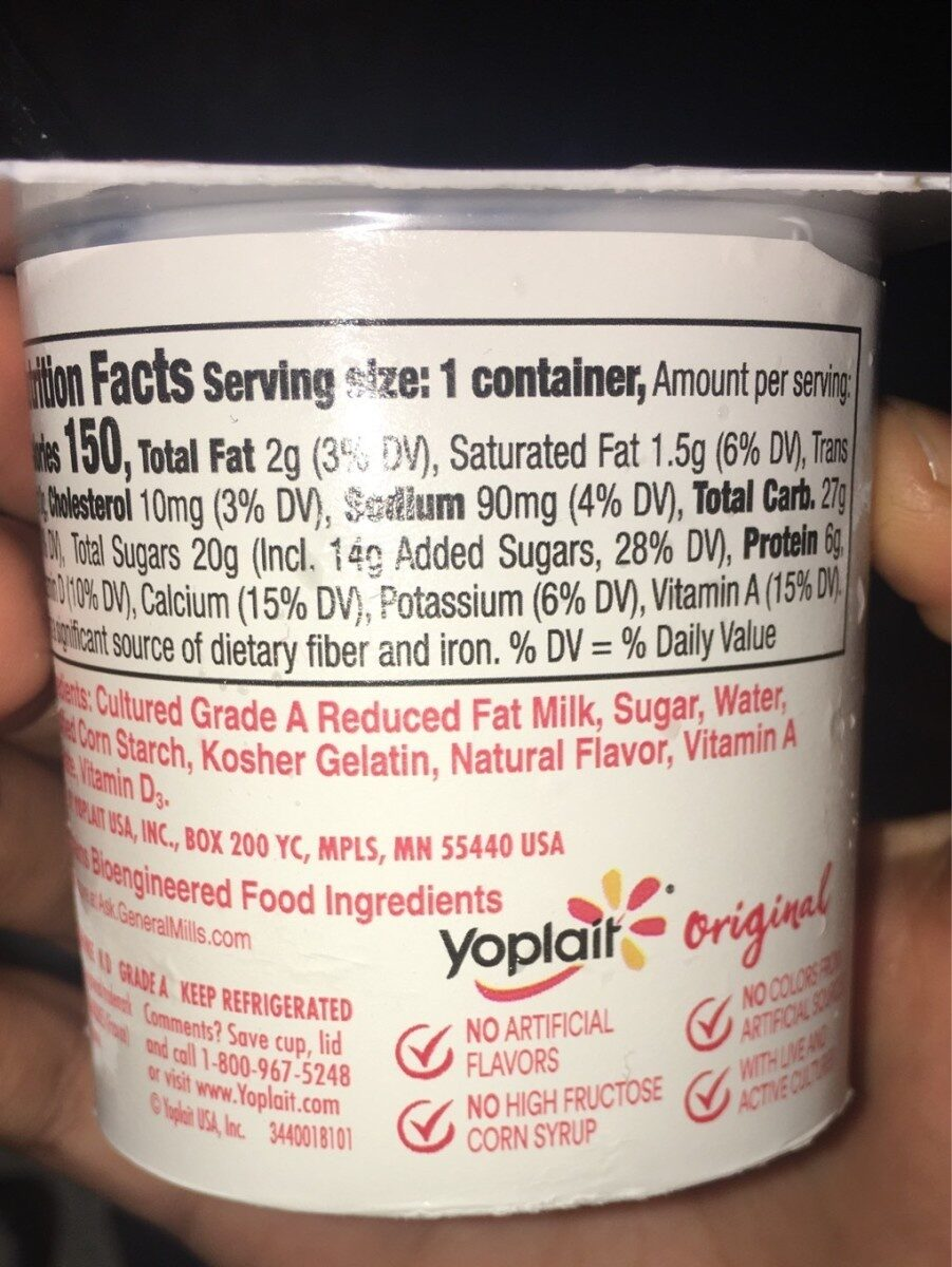 Yoplait Original French Vanilla Low Fat Yogurt - Nutrition facts - en