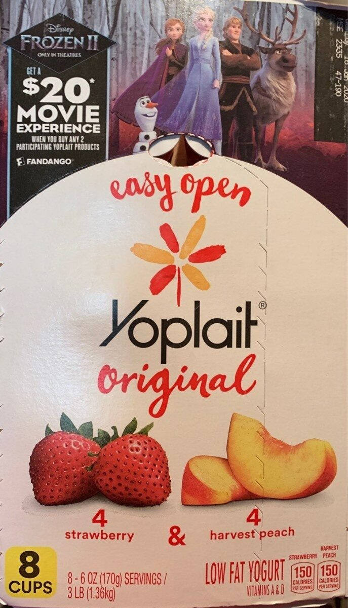 Original strawberry and harvest peach yogurt - Produit - en