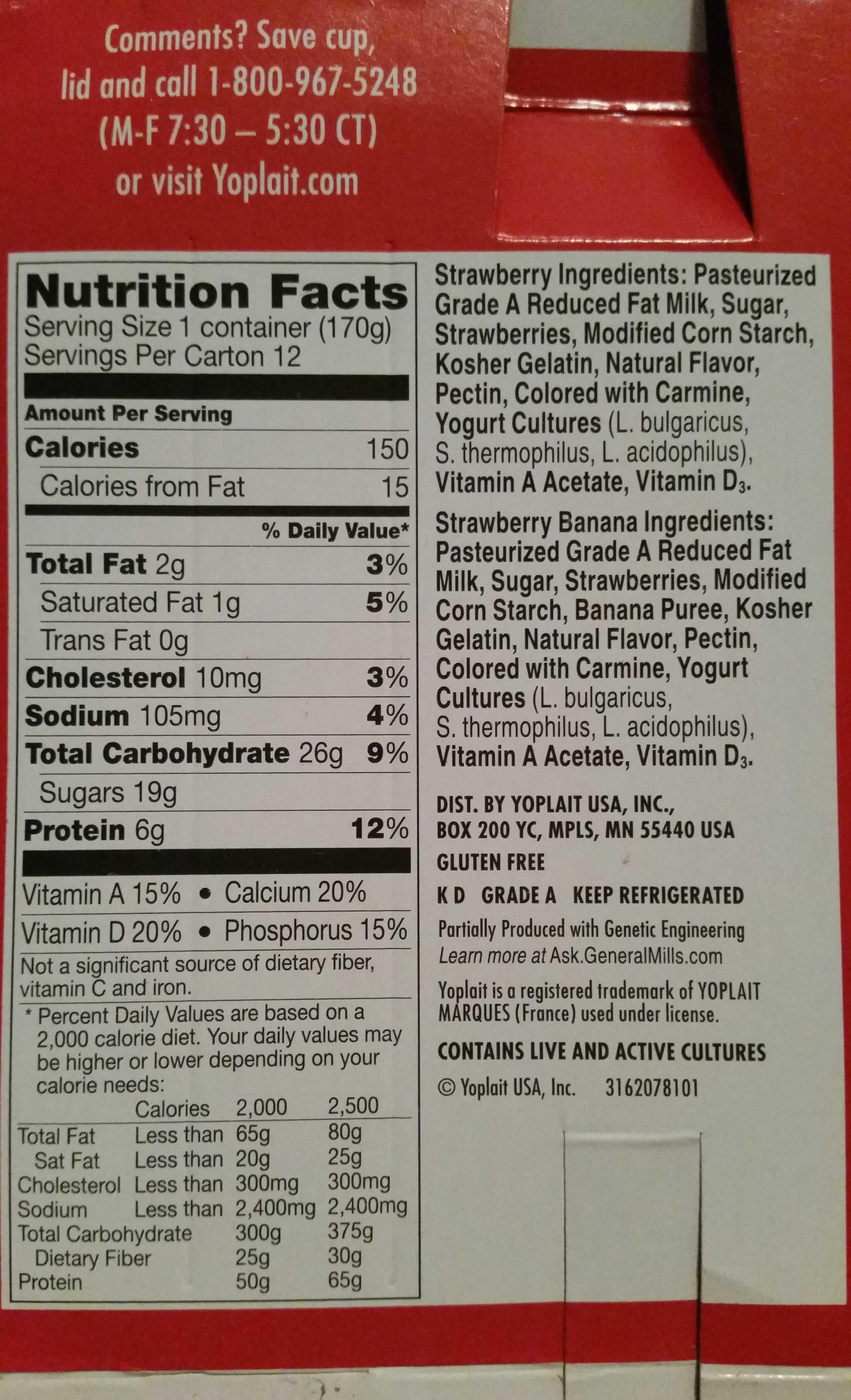 Strawberry & strawberry banana yogurt - Nutrition facts